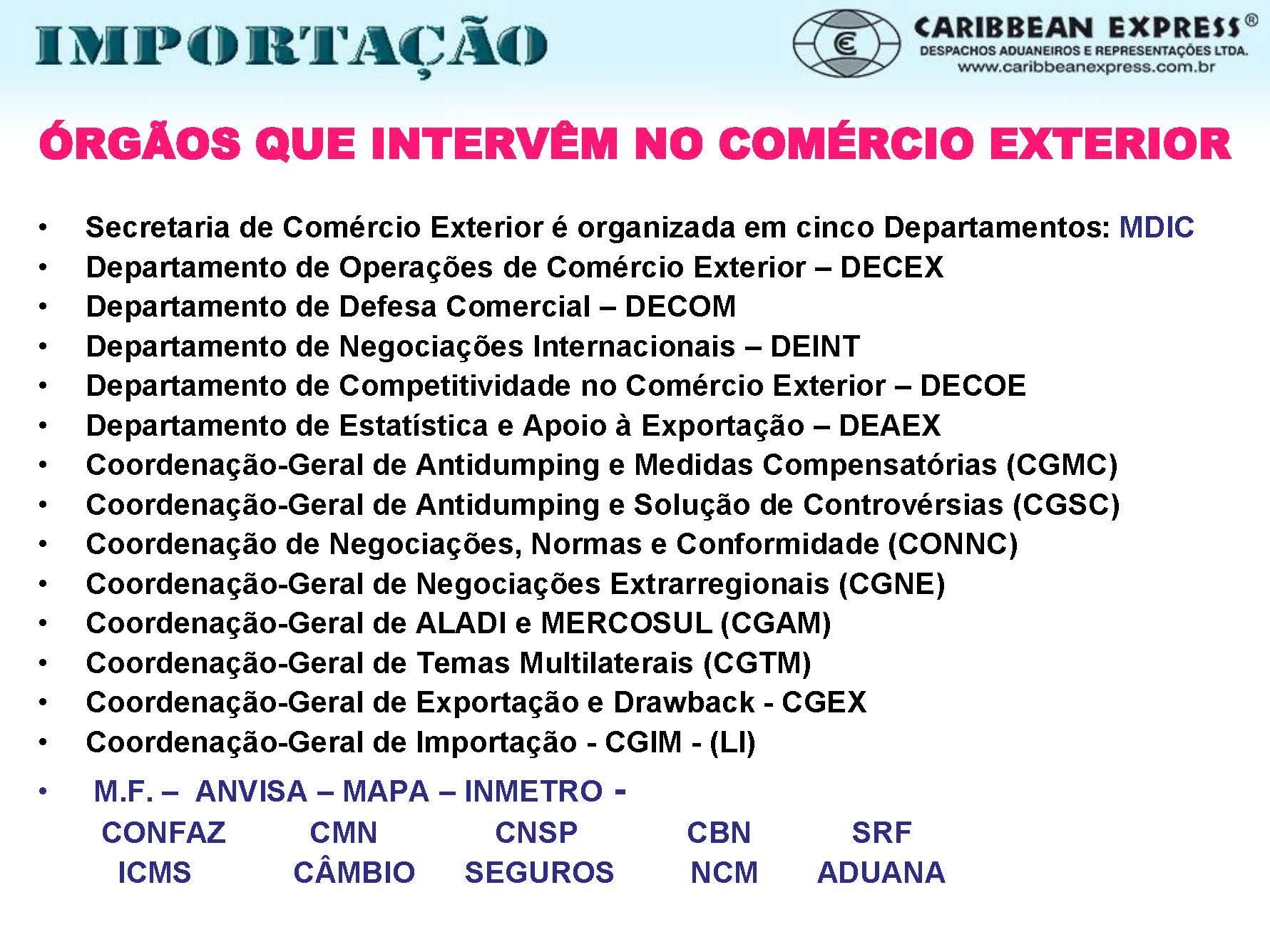 Todos os Ministérios que têm ingerência no comércio exterior   é delegada competência para administrar a área de atuação, o mais importante é o Ministério do Desenvolvimento, Indústria e Comércio Exterior (MDIC), através de suas secretarias e departamentos emanando as normas e procedimentos no comércio Exterior. Ministério da Fazenda com o Conselho Nacional de Política Fazendária (CONFAZ) na arrecadação do ICMS; Conselho Monetário Nacional (CMN) administração cambial por delegação ao Banco Central do Brasil; Conselho Nacional de Seguros Privados (CNSP), a questão dos seguros em comércio exterior; Comitê Brasileiro de Nomenclatura (CBN), definição da classificação fiscal de mercadorias; Secretaria da Receita Federal (SRF), executa as políticas fiscais e questões aduaneiras, aplicando a legislação para cada caso em específico.